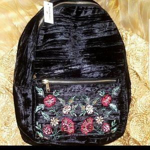 Black Floral Embroidered Crushed Velvet Backpack